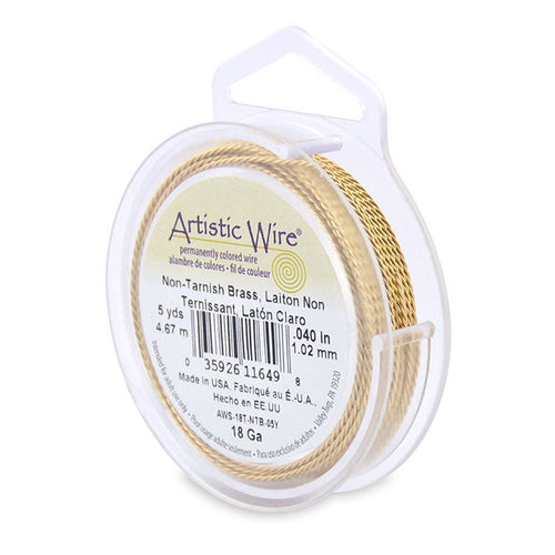 Artistic Wire. Twisted Artistic Wire, 0.040 Inch Diameter, 5 Yards, Non-Tarnish Brass Wire. Spools sold per pack - 1 Spool.