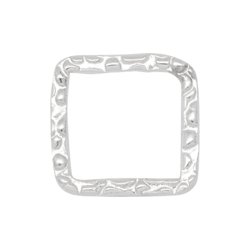 Connectors. Sterling Silver 8.0mm Width / Length, Handmade Hammered Square Connector. Quantity Per Pack: 4 Pieces.