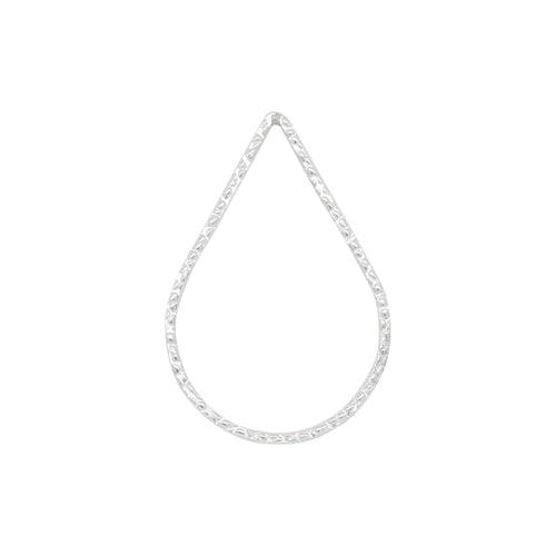 Connectors. Sterling Silver 21.0mm Width by 29.5mm Length, Handmade Hammered Tear Drop Connector. Quantity Per Pack: 2 Pieces.