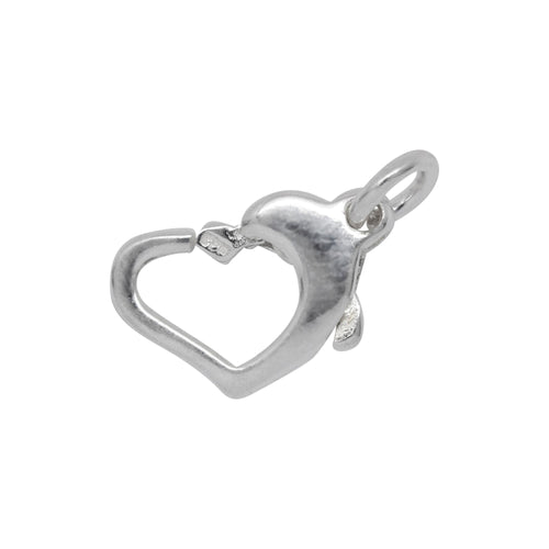 Clasps. Sterling Silver 8.30mm Width by 13.00mm Length by 3.15mm Height, Floating Heart Lobster Clasp With 5.15mm Width / Length Open Ring towards the top right side. Quantity Per Pack: 2 Pieces.