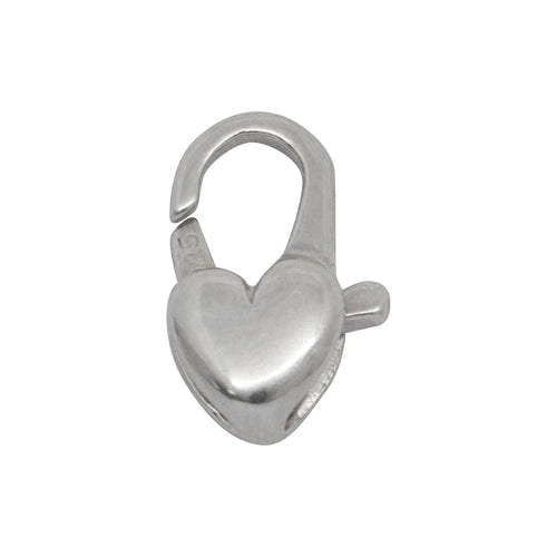 Clasps. Sterling Silver 9.55mm Width by 15.20mm Length by 4.20mm Thick, Heart Lobster Clasp With No Ring. Quantity Per Pack: 2 Pieces.