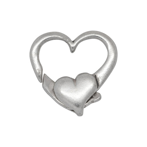 Clasps. Sterling Silver 16.0mm Width by 17.65mm Length by 4.0mm Thick, Heart Lobster Clasp With No Ring. Quantity Per Pack: 2 Pieces.