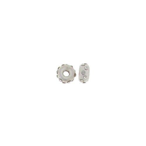 Beads. Sterling Silver 6.9mm Width by 3.3mm Height, Satin Roundel Bead with 12 Crystals. Quantity per pack: 5 Pieces.