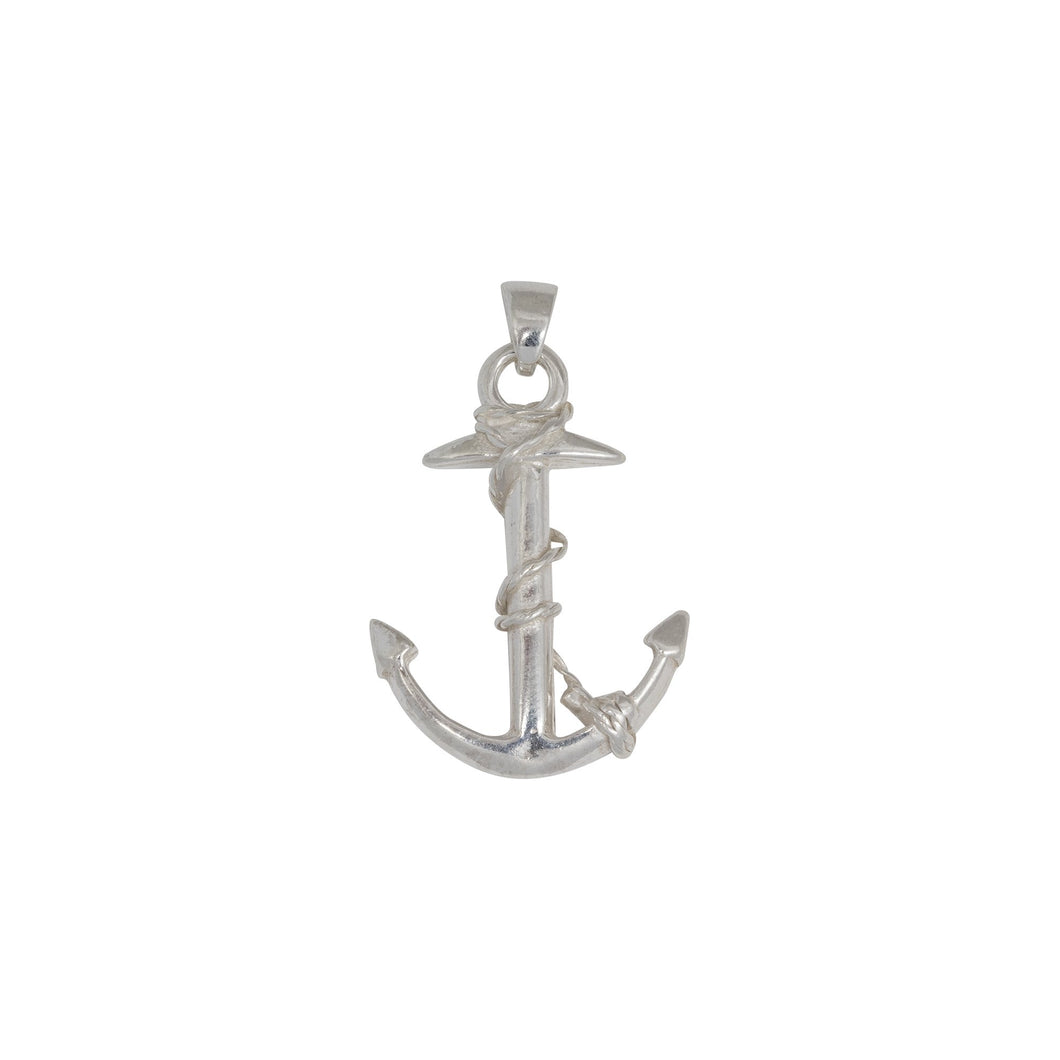 Sterling Silver, 26.1mm Width by 6.3mm Length by 36.3mm Height, Anchor Pendant. Quantity Per Pack: 1 Piece.