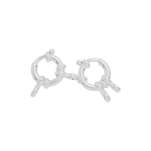 Clasps. Sterling Silver 17.35mm Width / Length by 3.50mm Thick, Smooth Spring Ring Clasp With Two of 6.10mm Width by 12.35mm Length Figure 8 Close Ring on each side. Quantity Per Pack: 1 Piece.
