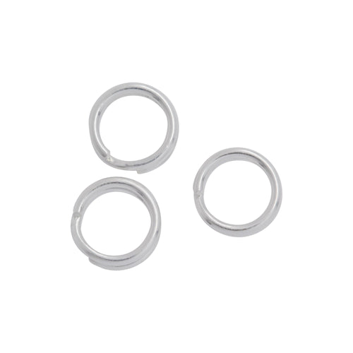 Split Rings. Sterling Silver 20.0 Gauge, 5.90mm Width / Length / Height, Round Split Ring. Quantity Per Pack: 50 Pieces.