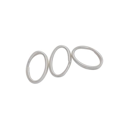 Split Rings. Sterling Silver 21.0 Gauge, 5.30mm Width by 8.0mm Length, Oval Split Ring. Quantity Per Pack: 20 Pieces.