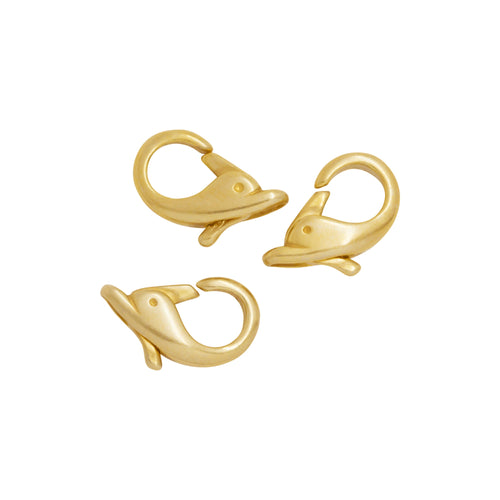Clasps. Sterling Silver Gold Plated 8.60mm Width by 14.80mm Length by 3.58mm Thick, Dolphin Lobster Clasp With 3.40mm Width / Length Fix Ring. Quantity Per Pack: 5 Pieces.