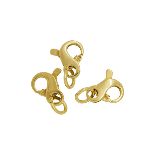 Clasps. Sterling Silver Gold Plated 6.9mm Width by 7.8mm Length by 2.72mm Thick, Figure 8 Lobster Clasp With 4.8mm Width / Length Fix Ring and 5.97mm Width / Length Open Ring. Quantity Per Pack: 5 Pieces.