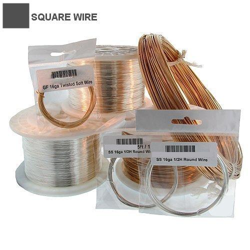 Wire. Sterling Silver 22.0 Gauge Half Hard Square Wire. Ounces sold per pack - 1.0 ounce.