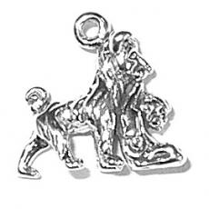 Charms. Sterling Silver, 5.9mm Width by 15.3mm Length by 14.3mm Height, Dog with Baby Charm. Quantity Per Pack: 1 Piece.