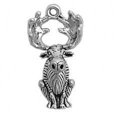 Charms. Sterling Silver, 16.1mm Width by 10.2mm Length by 30.0mm Height, Large Moose Charm.