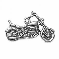 Charms. Sterling Silver, 24.8mm Width by 3.6mm Length by 14.4mm Height, Motorcycle Charm. Quantity Per Pack: 1 Piece.