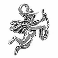 Charms. Sterling Silver, 16.0mm Width by 6.7mm Length by 18.1mm Height, Cowboy Angel Charm. Quantity Per Pack: 1 Piece.
