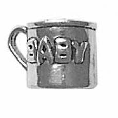 Charms. Sterling Silver, 9.3mm Width by 12.8mm Length by 9.0mm Height, Baby Cup Charm. Quantity Per Pack: 1 Piece.