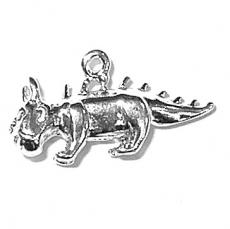 Charms. Sterling Silver, 22.9mm Width by 5.2mm Length by 12.0mm Height, Hodag Charm. Quantity Per Pack: 1 Piece.