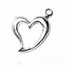 Charms. Sterling Silver, 15.5mm Width by 2.0mm Length by 21.0mm Height, Floating Heart Charm. Quantity Per Pack: 1 Piece.
