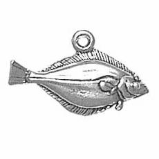 Charms. Sterling Silver, 21.8mm Width by 2.9mm Length by 13.1mm Height, Pacific Halibut Fish Charm. Quantity Per Pack: 1 Piece.