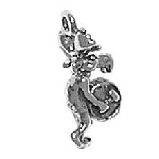 Charms. Sterling Silver, 8.4mm Width by 7.5mm Length by 17.8mm Height, Moose Playing Drum Charm. Quantity Per Pack: 1 Piece.