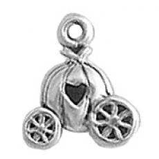Charms. Sterling Silver, 11.3mm Width by 4.5mm Length by 13.6mm Height, Carriage Charm. Quantity Per Pack: 1 Piece.
