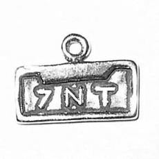 Charms. Sterling Silver, 15.3mm Width by 1.8mm Length by 10.9mm Height, 7NT Vanity Plate Charm. Quantity Per Pack: 1 Piece.