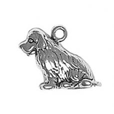 Charms. Sterling Silver, 15.3mm Width by 8.8mm Length by 13.4mm Height, Newfoundland Dog Charm. Quantity Per Pack: 1 Piece.