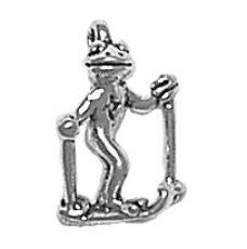 Charms. Sterling Silver, 6.4mm Width by 10.7mm Length by 14.7mm Height, Frog Skiing Charm. Quantity Per Pack: 1 Piece.