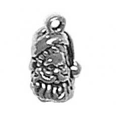 Charms. Sterling Silver, 7.1mm Width by 5.4mm Length by 11.8mm Height, Santa Head Charm. Quantity Per Pack: 1 Piece.
