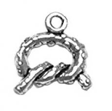 Charms. Sterling Silver, 11.4mm Width by 2.7mm Length by 11.6mm Height, Pretzel Charm. Quantity Per Pack: 1 Piece.