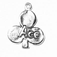 Charms. Sterling Silver, 15.1mm Width by 2.2mm Length by 18.2mm Height, Ace of Clubs Charm. Quantity Per Pack: 1 Piece.