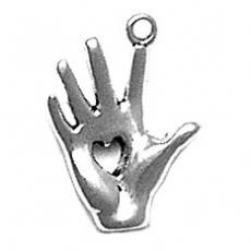 Charms. Sterling Silver, 12.4mm Width by 3.1mm Length by 17.2mm Height, Heart in Hand Charm. Quantity Per Pack: 1 Piece.