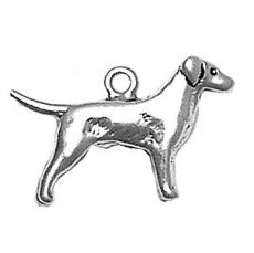 Charms. Sterling Silver, 24.0mm Width by 4.4mm Length by 15.3mm Height, Retriever Dog Charm. Quantity Per Pack: 1 Piece.