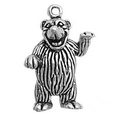 Charms. Sterling Silver, 19.8mm Width by 8.4mm Length by 28.1mm Height, Large Bear Charm. Quantity Per Pack: 1 Piece.