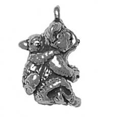 Charms. Sterling Silver, 9.8mm Width by 14.3mm Length by 18.9mm Height, Koala With Cub Charm. Quantity Per Pack: 1 Piece.