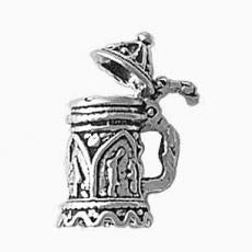 Charms. Sterling Silver, 12.8mm Width by 10.1mm Length by 19.4mm Height, Beer Stein Charm. Quantity Per Pack: 1 Piece.