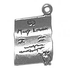 Charms. Sterling Silver, 11.5mm Width by 3.2mm Length by 17.9mm Height, Marriage License Charm. Quantity Per Pack: 1 Piece.