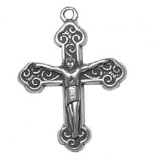 Charms. Sterling Silver, 22.1mm Width by 4.0mm Length by 29.2mm Height, Crucifix Charm. Quantity Per Pack: 1 Piece.