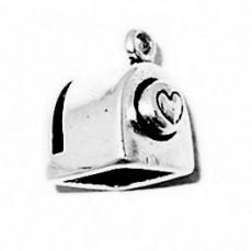 Charms. Sterling Silver, 10.8mm Width by 12.8mm Length by 14.4mm Height, Heart Stamp Charm. Quantity Per Pack: 1 Piece.