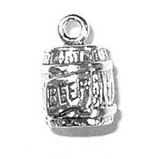 Charms. Sterling Silver, 8.0mm Width by 8.4mm Length by 12.1mm Height, Keg of Beer Charm. Quantity Per Pack: 1 Piece.