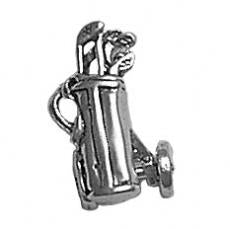 Charms. Sterling Silver, 15.7mm Width by 9.0mm Length by 9.9mm Height, Golf Cart With Golf Clubs Charm. Quantity Per Pack: 1 Piece.