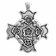 Charms. Sterling Silver, 23.4mm Width by 2.6mm Length by 28.0mm Height, Maltese Cross With Roses Pendant. Quantity Per Pack: 1 Piece.