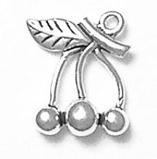 Charms. Sterling Silver, 13.6mm Width by 4.5mm Length by 16.4mm Height, Cherries Charm. Quantity Per Pack: 1 Piece.