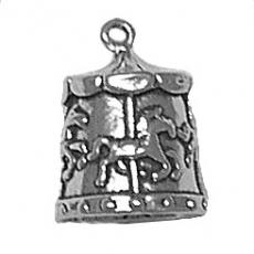 Charms. Sterling Silver, 13.0mm Width by 13.2mm Length by 17.0mm Height, Merry-Go-Round Charm. Quantity Per Pack: 1 Piece.