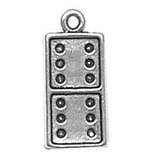 Charms. Sterling Silver, 8.3mm Width by 2.6mm Length by 18.3mm Height, Domino Charm. Quantity Per Pack: 1 Piece.