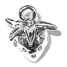 Charms. Sterling Silver, 10.9mm Width by 11.6mm Length by 13.6mm Height, Stawberry Charm. Quantity Per Pack: 1 Piece.