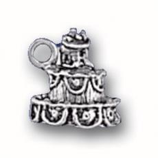 Charms. Sterling Silver, 11.0mm Width by 10.9mm Length by 11.0mm Height, Weding Cake Charm. Quantity Per Pack: 1 Piece.
