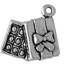 Charms. Sterling Silver, 14.0mm Width by 5.2mm Length by 12.5mm Height, Box of Chocolates Charm. Quantity Per Pack: 1 Piece.