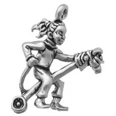 Charms. Sterling Silver, 11.4mm Width by 15.2mm Length by 22.6mm Height, Child Riding Stick Horse Charm. Quantity Per Pack: 1 Piece.