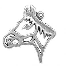 Charms. Sterling Silver, 22.5mm Width by 1.8mm Length by 24.5mm Height, Horse Head Charm. Quantity Per Pack: 1 Piece.