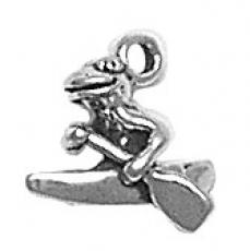 Charms. Sterling Silver, 11.7mm Width by 7.1mm Length by 11.8mm Height, Frog Rowing Canoe Charm. Quantity Per Pack: 1 Piece.